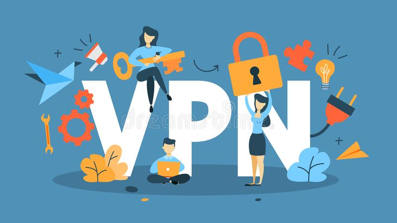 VPN concept illustration. VPN concept. Using internet via virtual private network. Modern technology and virtual life. Idea of privacy in the internet. Flat royalty free illustration