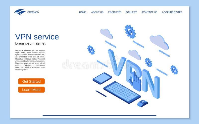 VPN-de dienst vlak 3d isometrisch vectorconcept royalty-vrije illustratie