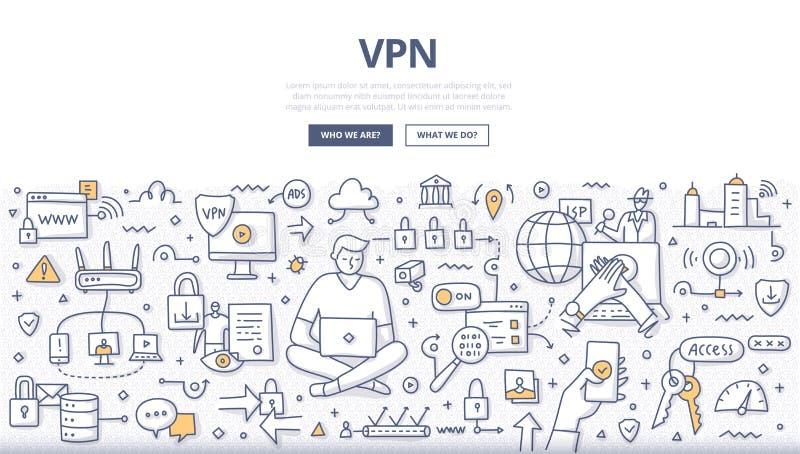 VPN Doodle Concept stock illustration