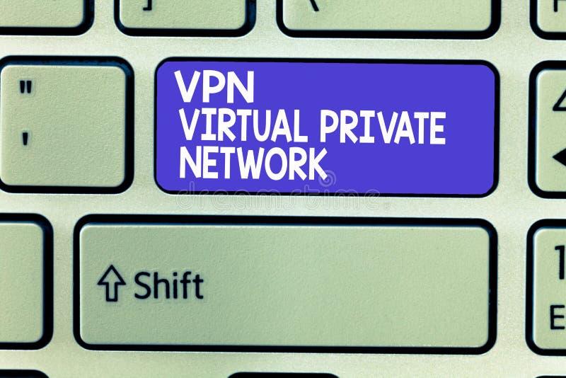 Vpn för ordhandstiltext faktiskt privat nätverk Affärsidéen för kassaskåp kodade anslutning över internet arkivfoto