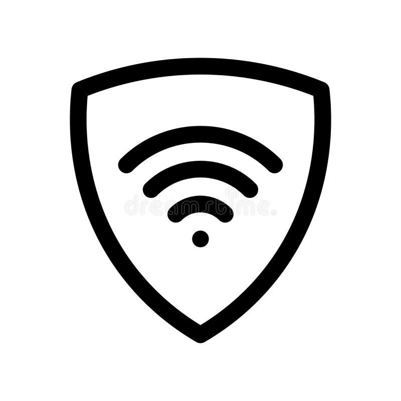 VPN - faktisk symbol för privat nätverk Enkel sköld med symbolet wi-fi Beståndsdel för modern design för översikt Enkel svartläge stock illustrationer