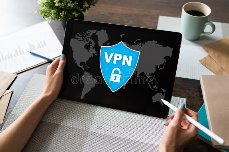 VPN - Faktiskt perivatenätverk Begrepp för internetconncetionavskildhet royaltyfri foto