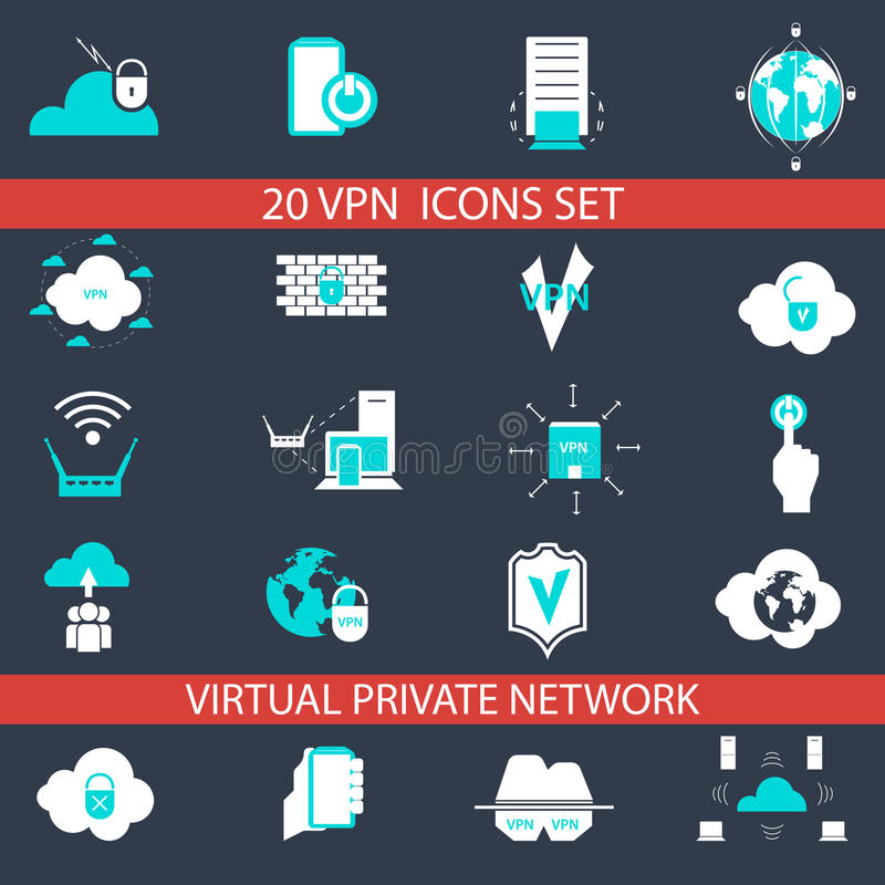 VPN-Geplaatste Pictogrammen royalty-vrije illustratie