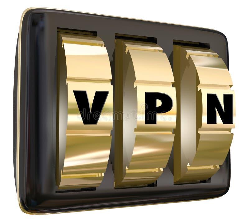 VPN-het Slot draait de Virtuele Persoonlijke Verbinding Secu van Netwerkinternet royalty-vrije illustratie