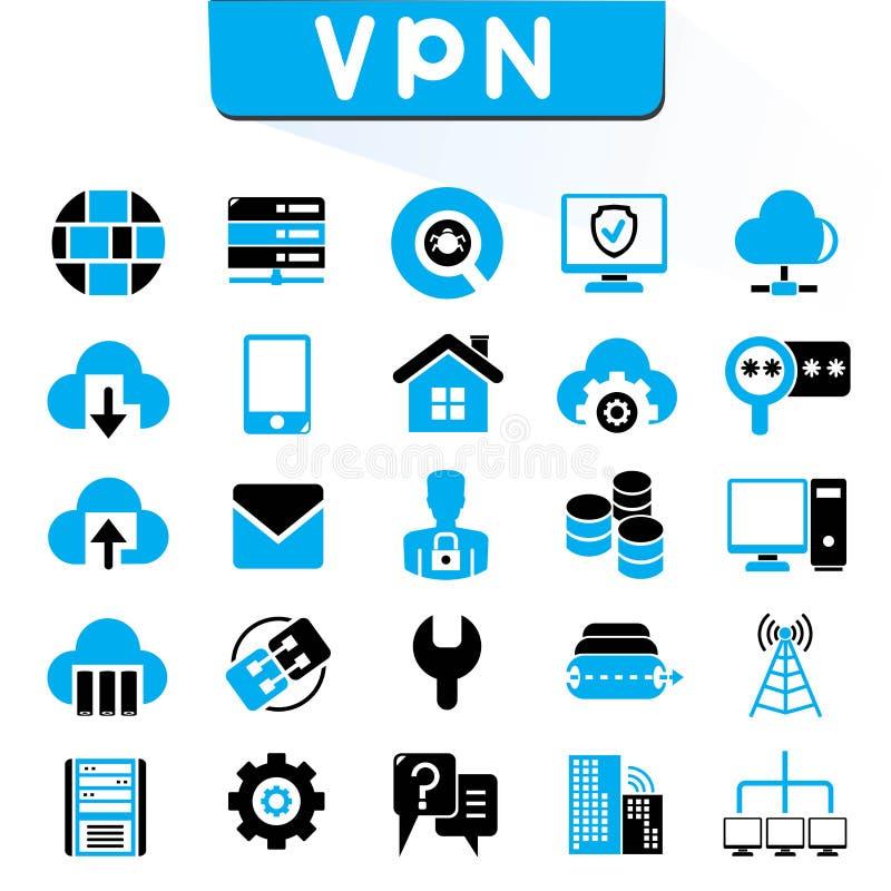 VPN, icônes virtuelles de réseau privé illustration de vecteur