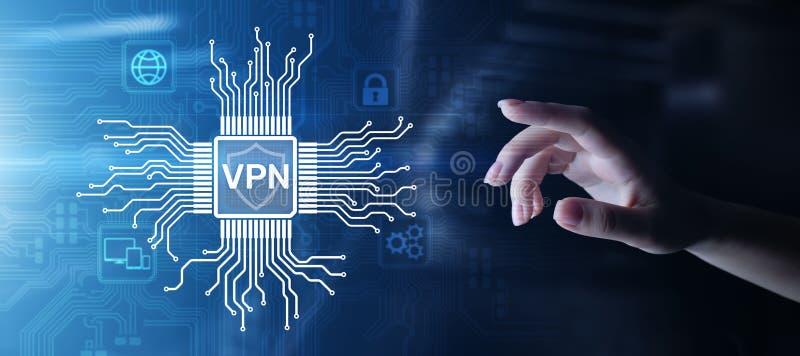 VPN intymnej sieci dostępu do internetu ochrony ssl prokurentu anonymizer technologii pojęcia wirtualny guzik na wirtualnym ekran zdjęcie royalty free