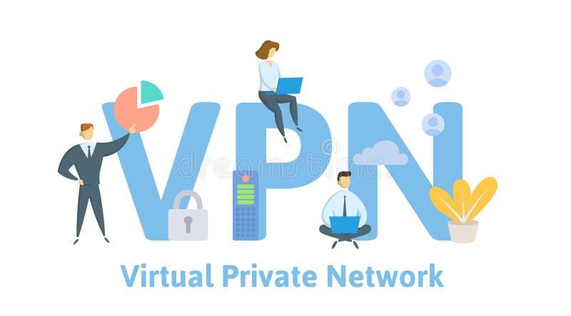 VPN, Particulier netwerk Concept met mensen, brieven en pictogrammen Vlakke vectorillustratie Ge?soleerd op wit royalty-vrije illustratie