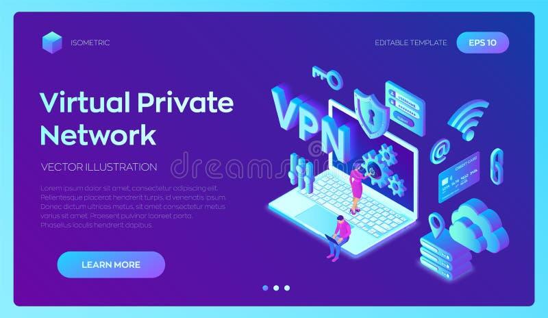 VPN Red privada virtual Encripción de datos, substituto del IP Asegure el concepto de la conexi?n del VPN Seguridad cibernética y ilustración del vector