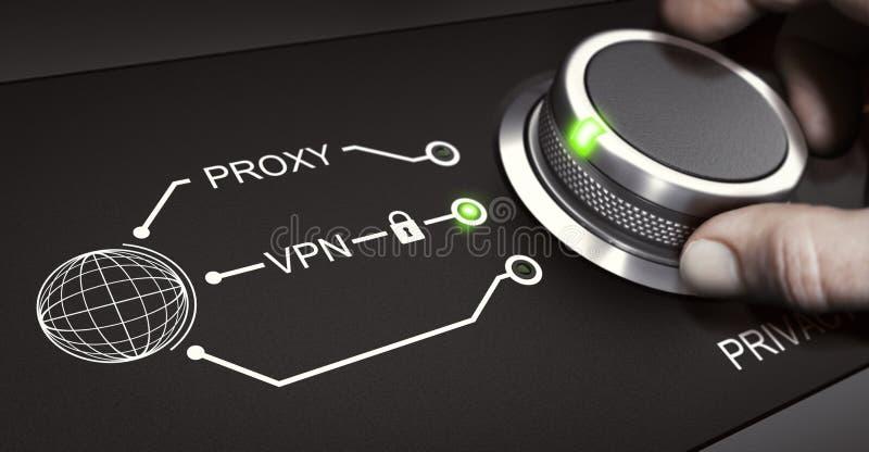 VPN, segurança em linha pessoal, rede virtual privada ilustração royalty free