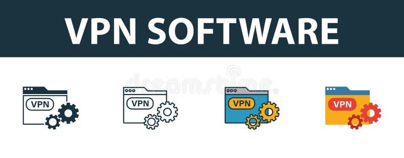 Vpn Software Icon Set Vier einfache Symbole in verschiedenen Stilen aus der Icons-Auflistung Ausgefüllte VPN-Software-Icons, Umri lizenzfreie abbildung