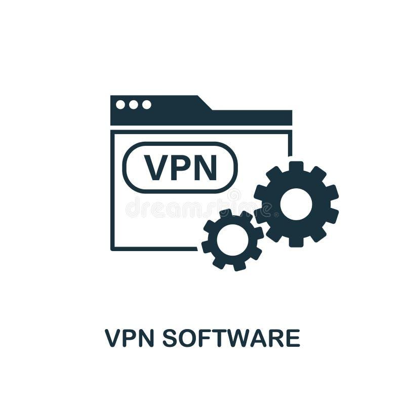 Vpn Software-Symbol Erstellen von Elementen aus der Icons-Auflistung Pixel perfekte VPN Software Ikone für Web-Design, Apps, Soft lizenzfreie abbildung