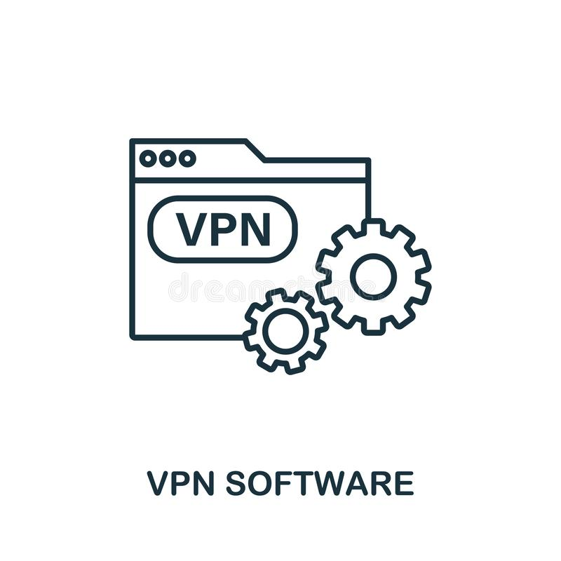 Vpn Software-Symbol-Umriss Einfache Glyphe aus der Icons-Auflistung Line Vpn Software Icon für Webdesign und Software lizenzfreie abbildung