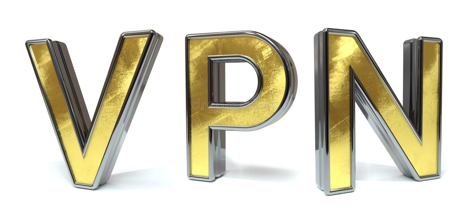 Vpn to golden text vector illustration