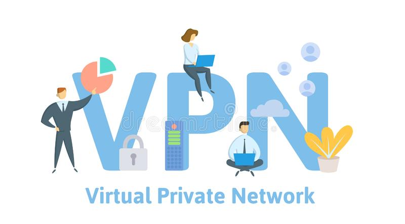 VPN, Virtual Private Network. Concept with people, letters and icons. Flat vector illustration. Isolated on white royalty free illustration