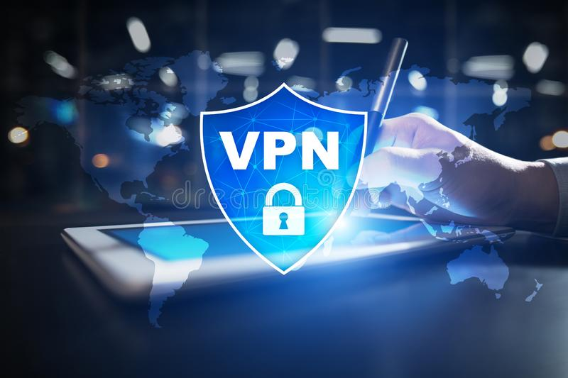 VPN Virtual Private network protocol. Cyber security and privacy connection technology. Anonymous Internet. stock illustration