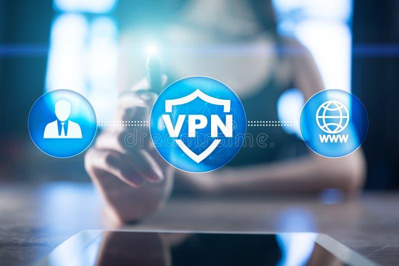 VPN-Virtueel particulier netwerkprotocol Cyberveiligheid en de technologie van de privacyverbinding Anoniem Internet vector illustratie
