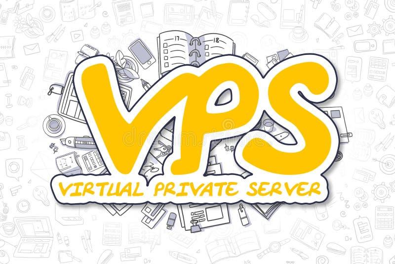 Vps - Gekritzel-gelbe Aufschrift Die goldene Taste oder Erreichen für den Himmel zum Eigenheimbesitze stock abbildung