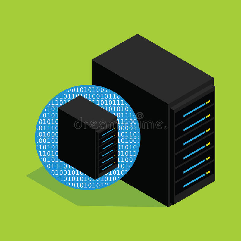 Vps virtual private server hosting and database stock illustration