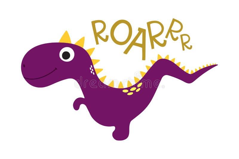 vråla gullig dinosaur stock illustrationer