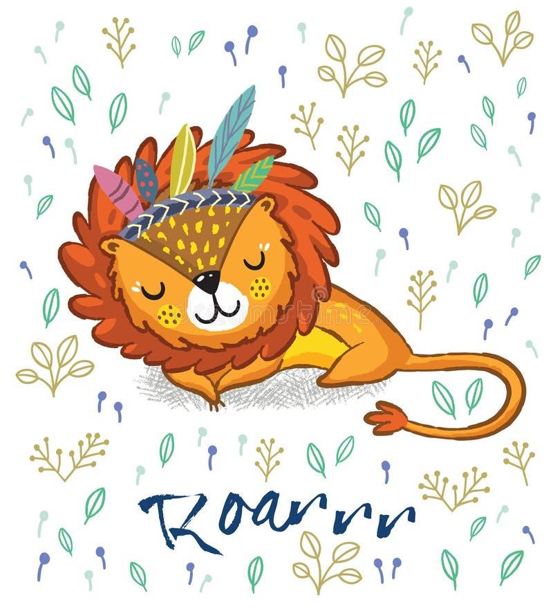 vråla Gullig sova lejonvektorillustration royaltyfri illustrationer