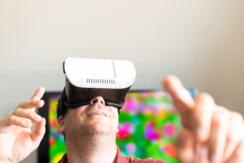 戴VR眼镜的人 库存照片