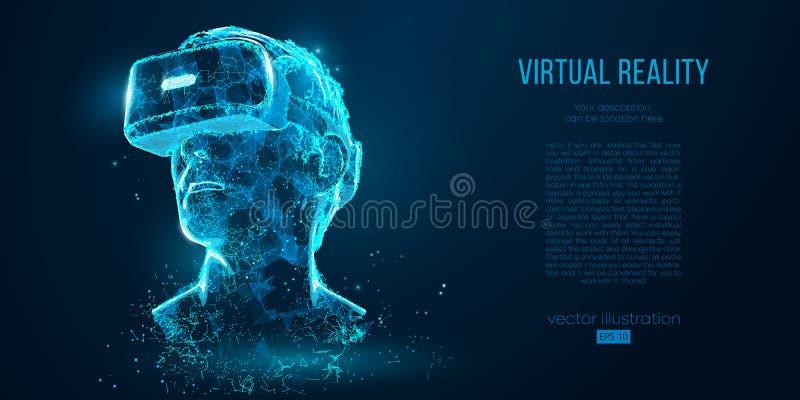 VR耳机全息照相的投射虚拟现实玻璃,盔甲 低多导线概述几何传染媒介例证 向量例证