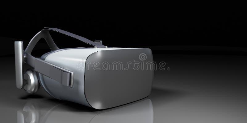 VR虚拟现实耳机一半转动了在wh隔绝的正面图 皇族释放例证