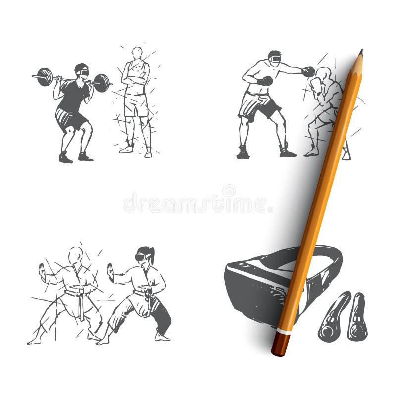 VR αθλητισμός - εγχώρια γυμναστική, αθλητικά παιχνίδια, πολεμικές τέχνες, vr διανυσματικό σύνολο έννοιας εξοπλισμού απεικόνιση αποθεμάτων