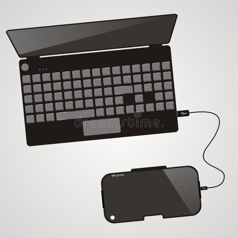 VR γυαλιά εικονικής πραγματικότητας που συνδέονται στον υπολογιστή, lap-top  απεικόνιση αποθεμάτων