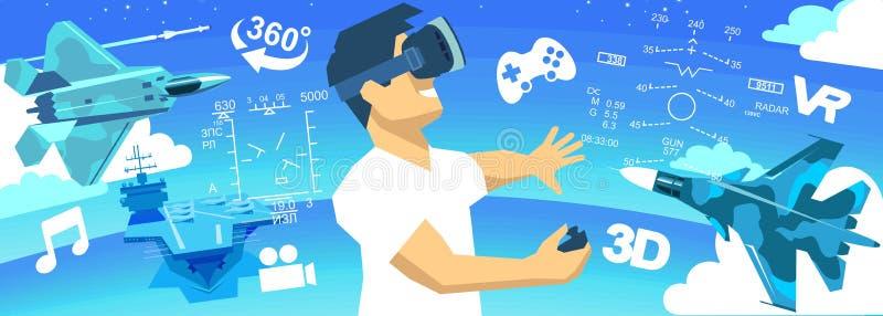 VR玻璃3d虚拟现实象的人 向量例证