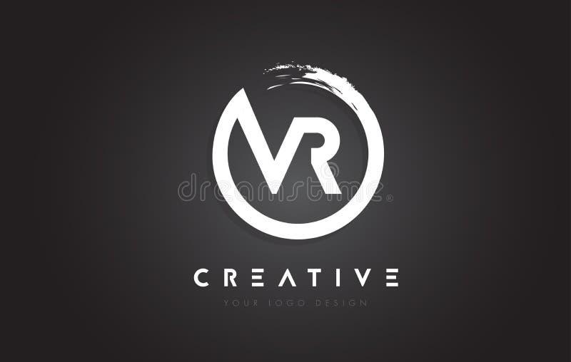 VR Circular Letter Logo with Circle Brush Design and Black Background. vector illustration