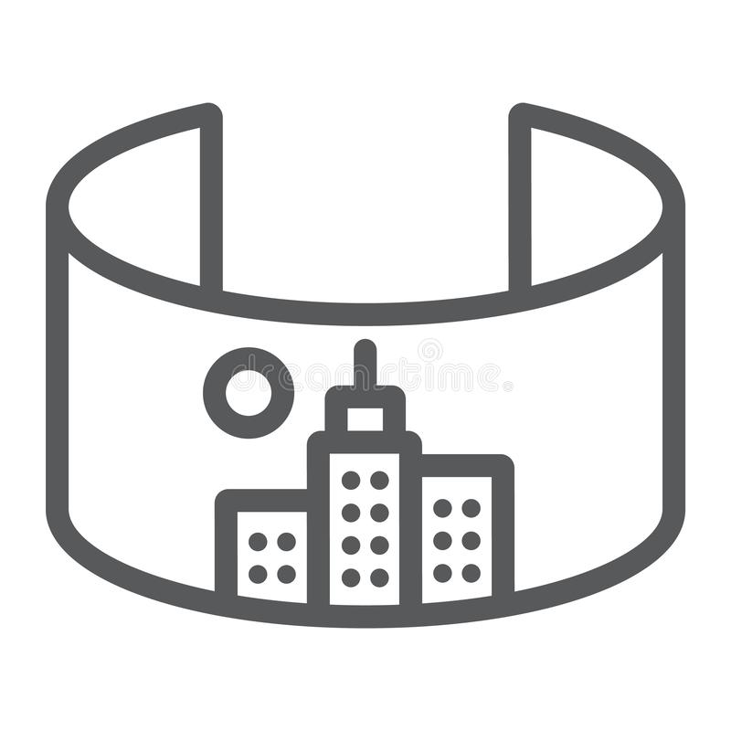 VR city line icon, virtual and town, virtual city sign, vector graphics, a linear pattern on a white background. vector illustration