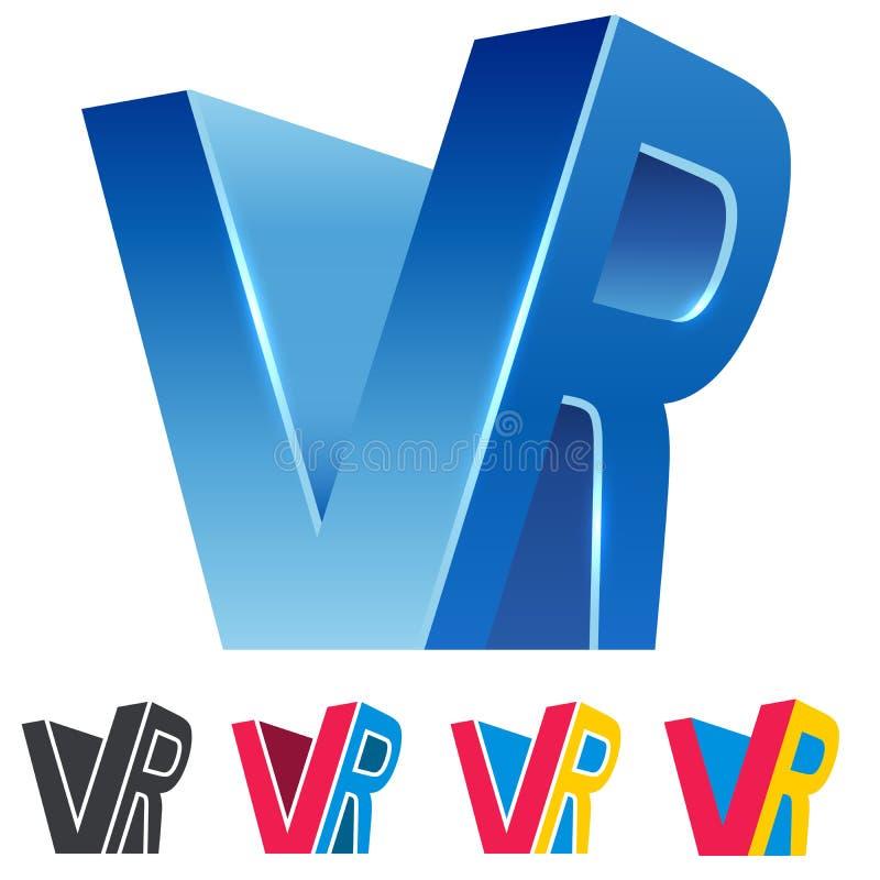 VR combinou o sinal 3D azul da realidade virtual das letras ilustração royalty free