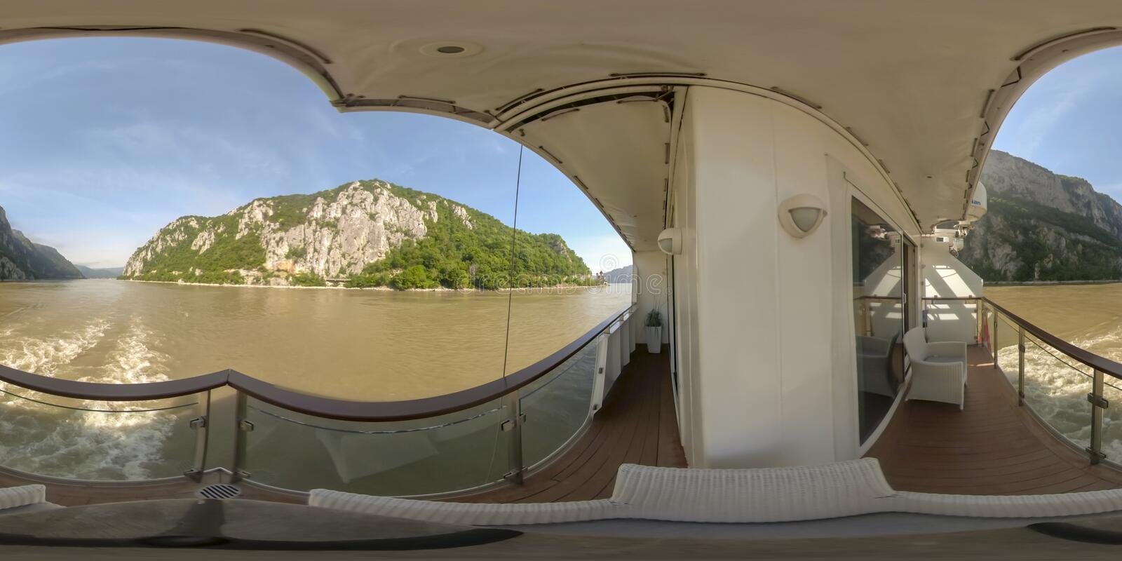 360VR Cruising through Iron Gate gorges. 360VR cruising on riverboat through the Iron Gate gorges on the Danube River between Serbia and Romania countryside stock photography