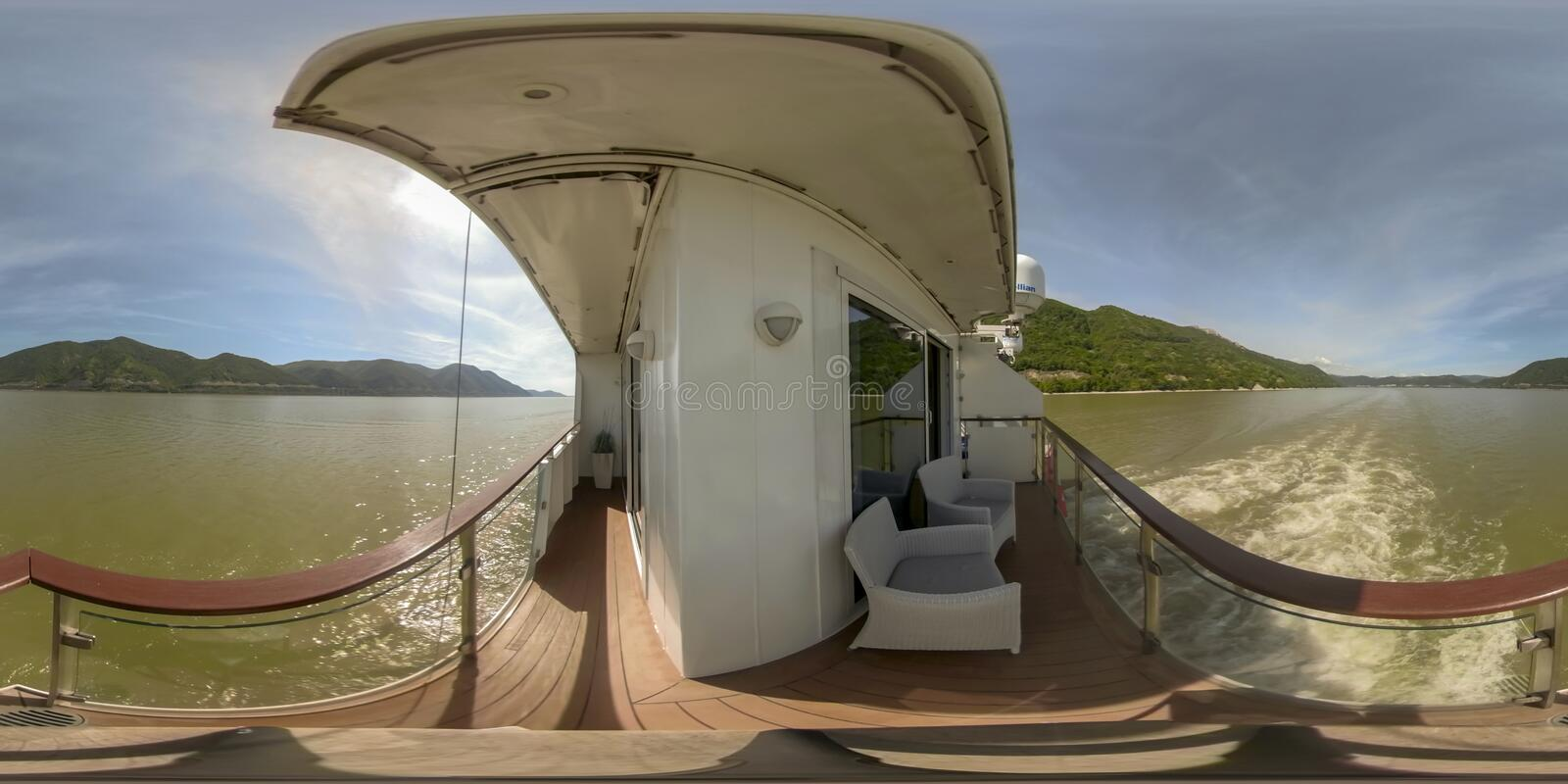 360VR Cruising through Iron Gate landscape. 360VR cruising on riverboat through the Iron Gate gorges on the Danube River between Serbia and Romania countryside stock image