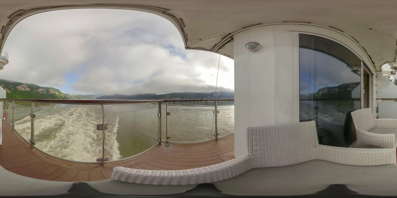 360VR Cruising through Iron Gate. 360VR cruising on riverboat through the Iron Gate gorges on the Danube River between Serbia and Romania countryside stock photo