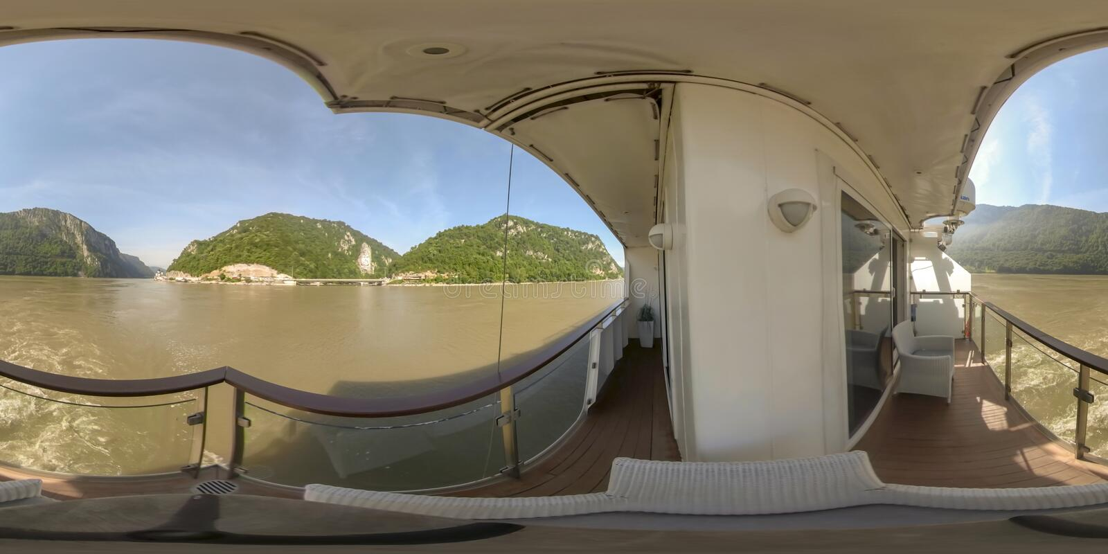360VR Cruising through Iron Gate between Serbia and Romania. 360VR cruising on riverboat through the Iron Gate gorges on the Danube River between Serbia and stock images