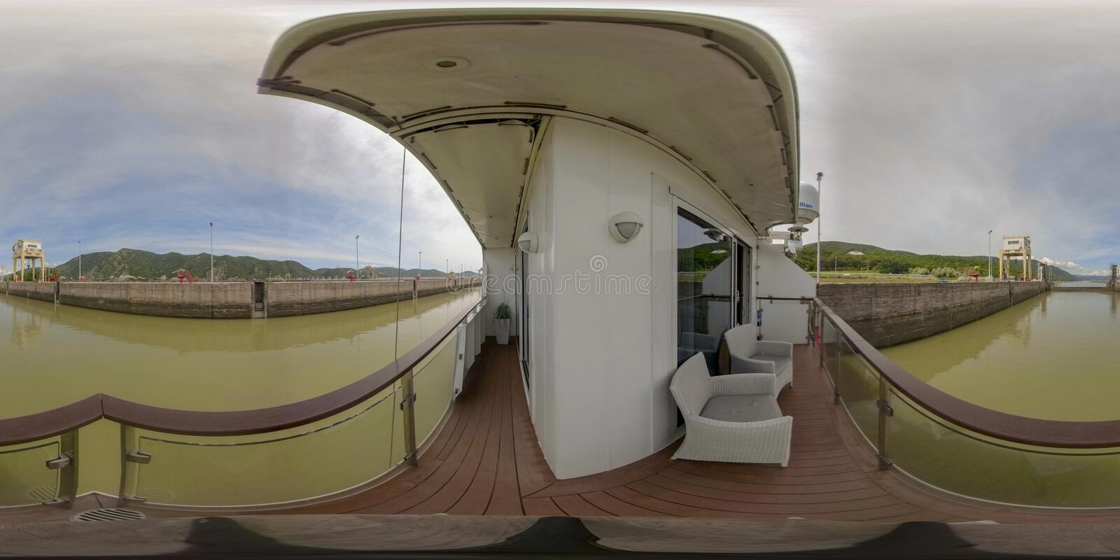 360VR Cruising through locks at  Iron Gate2. 360VR cruising on riverboat through the Iron Gate 2 hydroelectric power plant locks on the Danube River between stock photo