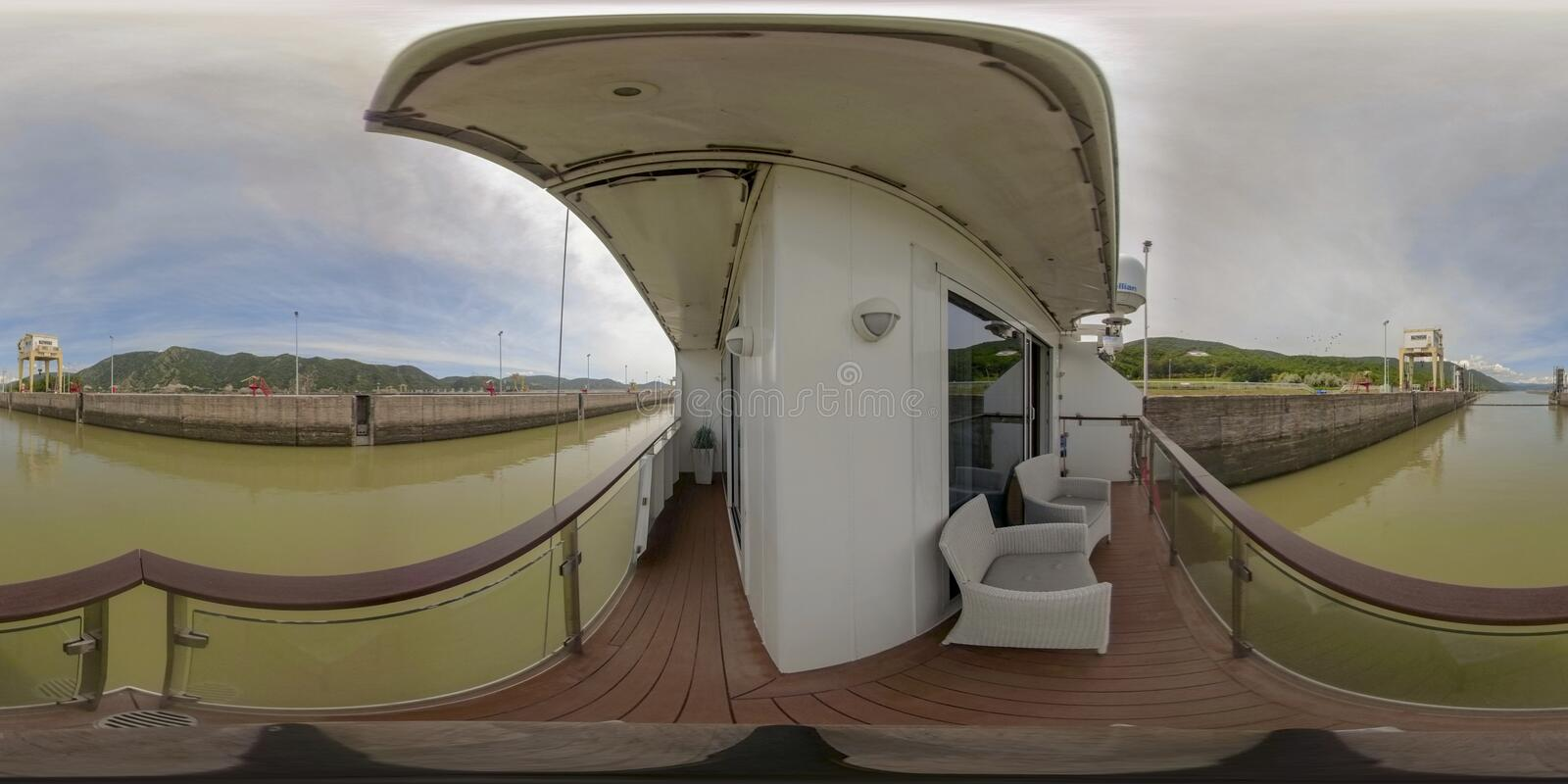 360VR Cruising through Iron Gate Locks. 360VR cruising on riverboat through the Iron Gate 2 hydroelectric power plant locks on the Danube River between Serbia royalty free stock photos
