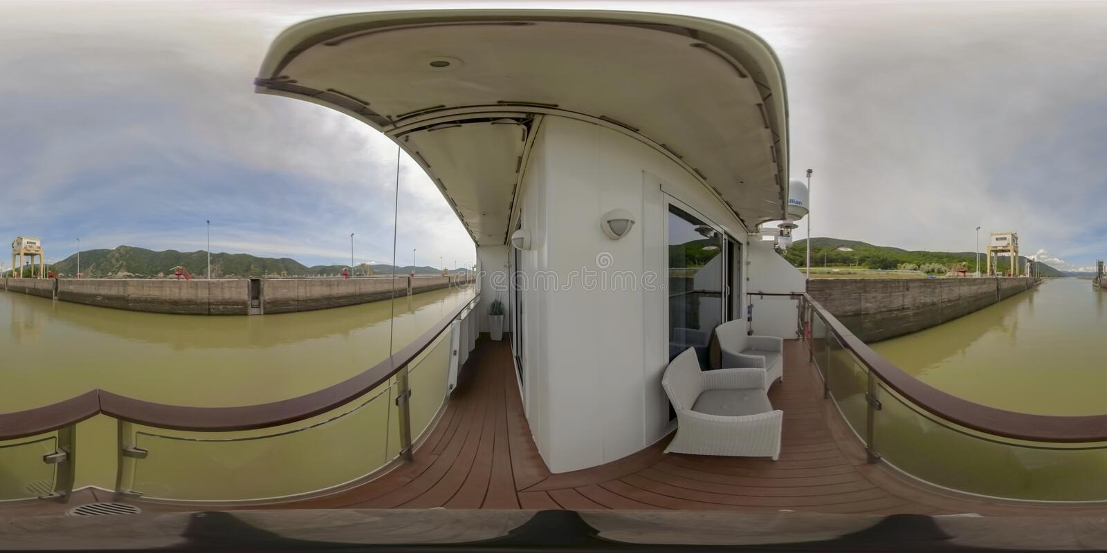 360VR Cruising through Iron Gate2 Locks. 360VR cruising on riverboat through the Iron Gate 2 hydroelectric power plant locks on the Danube River between Serbia royalty free stock image