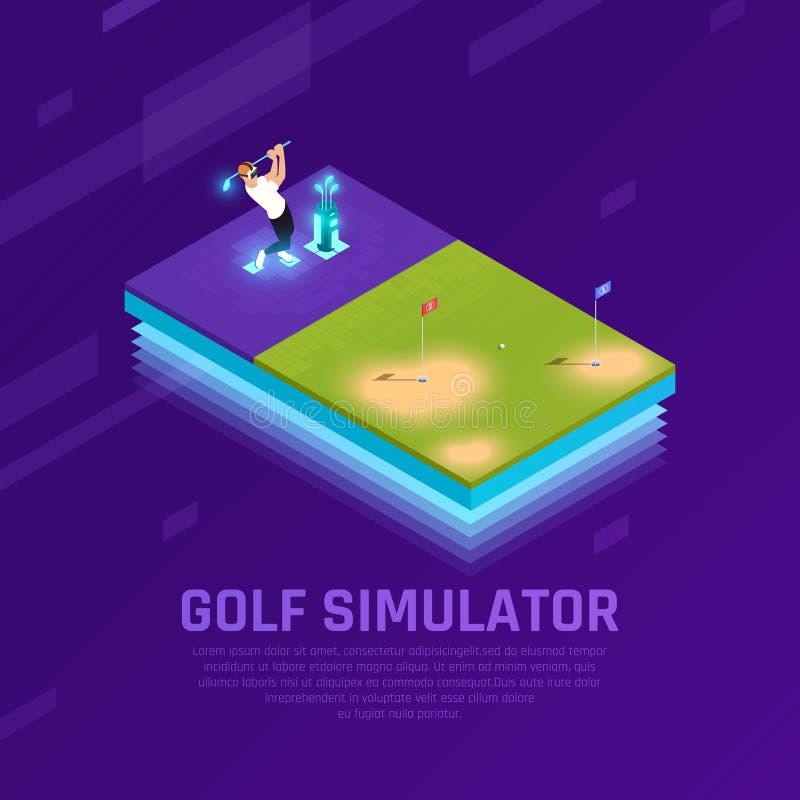 VR de Isometrische Samenstelling van de golfsimulator vector illustratie