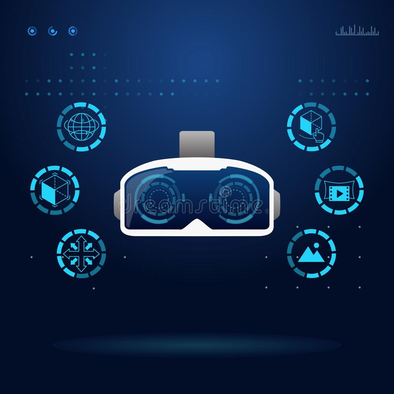 VR de virtuele technologie van werkelijkheidsglazen vector illustratie
