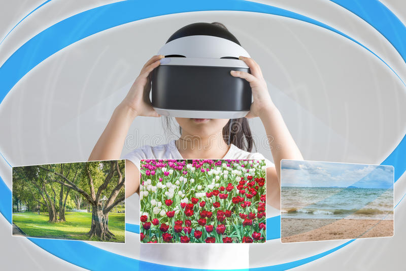 VR eller virtuell verklighet för resande begrepp till ställen Illustrat royaltyfri foto