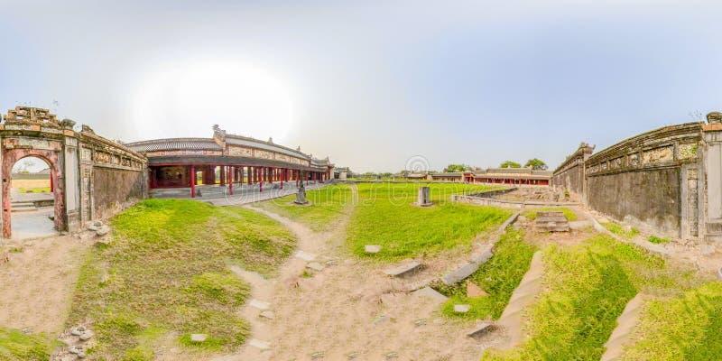 360VR Citadel of Hue in Vietnam. 360VR of empty courtyard in Citadel of Hue, Vietnam stock images