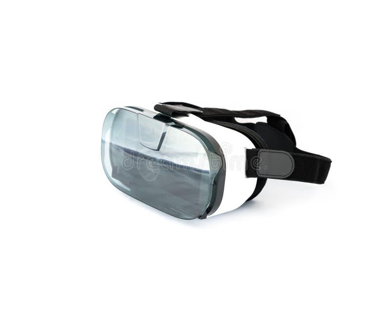 VR-exponeringsglas eller virtuell verklighethörlurar med mikrofon som isoleras på vit royaltyfria bilder