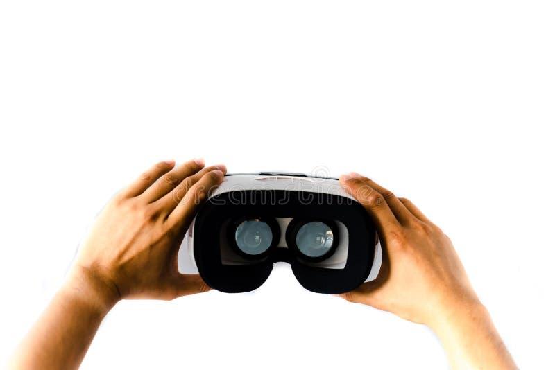 VR-exponeringsglas eller virtuell verklighethörlurar med mikrofon som isoleras på vit royaltyfri fotografi