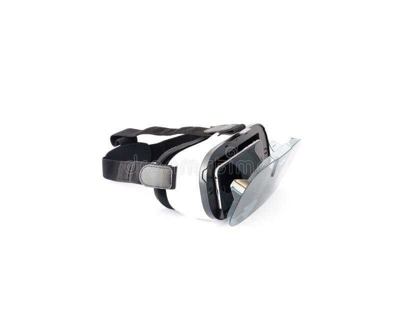 VR-exponeringsglas eller virtuell verklighethörlurar med mikrofon som isoleras på vit arkivfoto