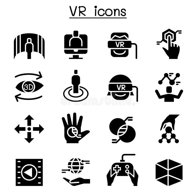 VR faktisk teknologisymbolsuppsättning stock illustrationer