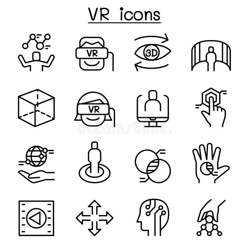 VR faktisk teknologisymbolsuppsättning i den tunna linjen stil vektor illustrationer