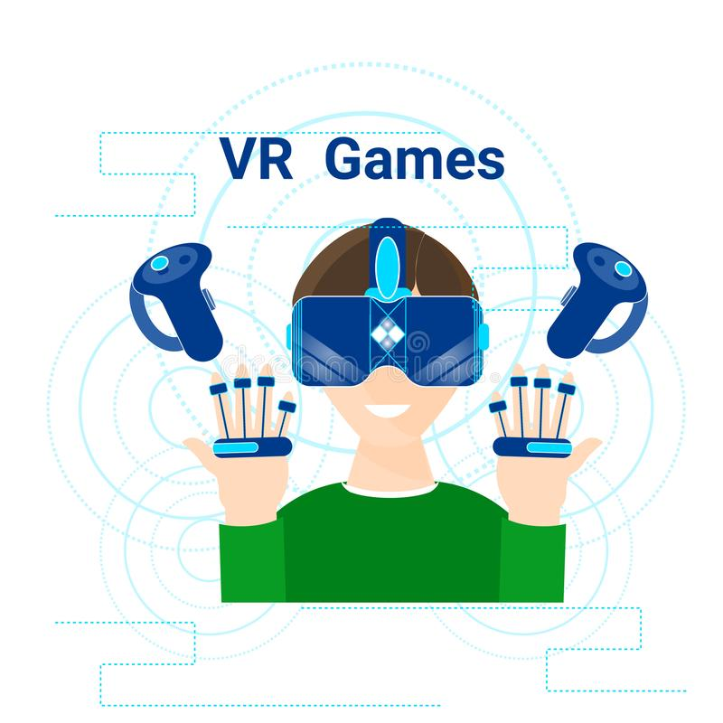 Vr Games Banner Man Wearing Virtual Reality Headset Modern Gaming Technology Concept royalty free illustration